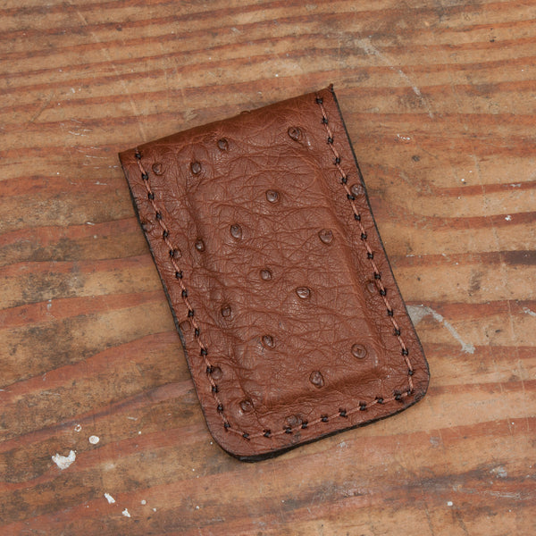 Brown Ostrich Money Clip
