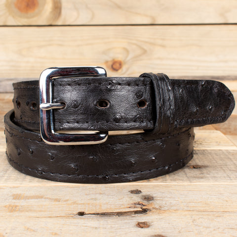 Black Ostrich Leather Belt