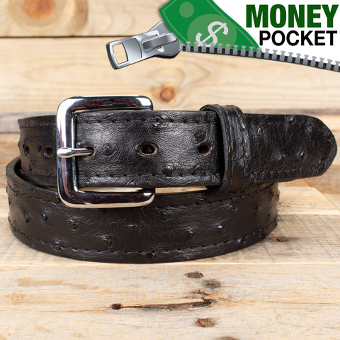 Black Ostrich Money Belt