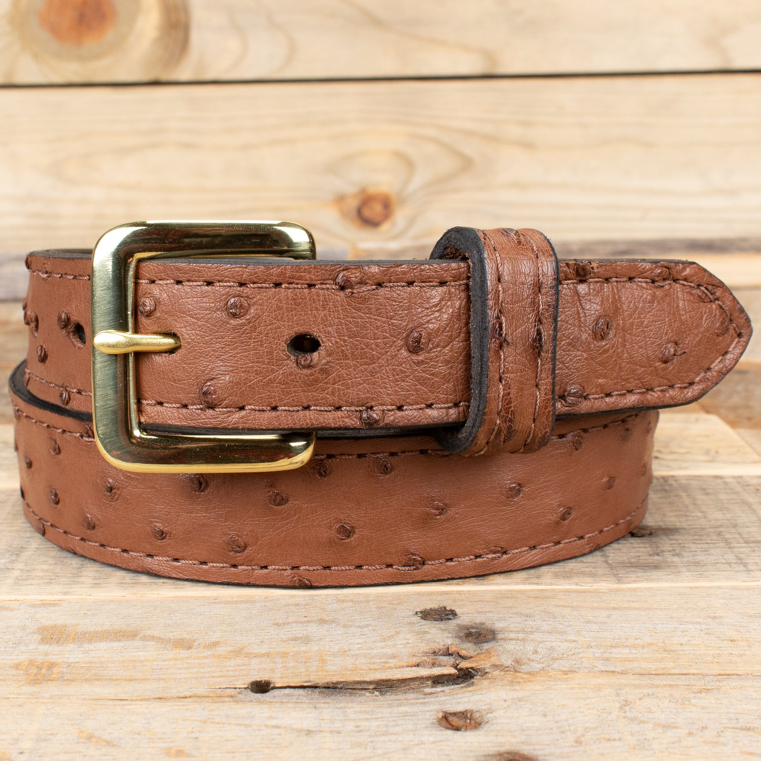 Brown Ostrich Skin Leather Belt