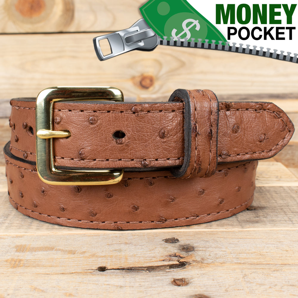 Ostrich Skin Money Belt