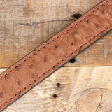 Brown Ostrich Leather Amish Belt