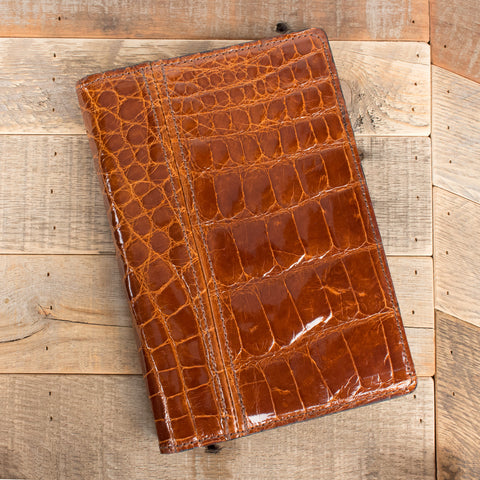 Cognac Alligator Padfolio Portfolio Notepad Leather