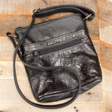 Black Floral Embossed Purse