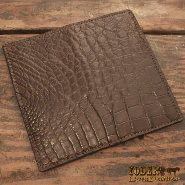 Brown Alligator Rodeo Checkbook Wallet Yoder Leather Company