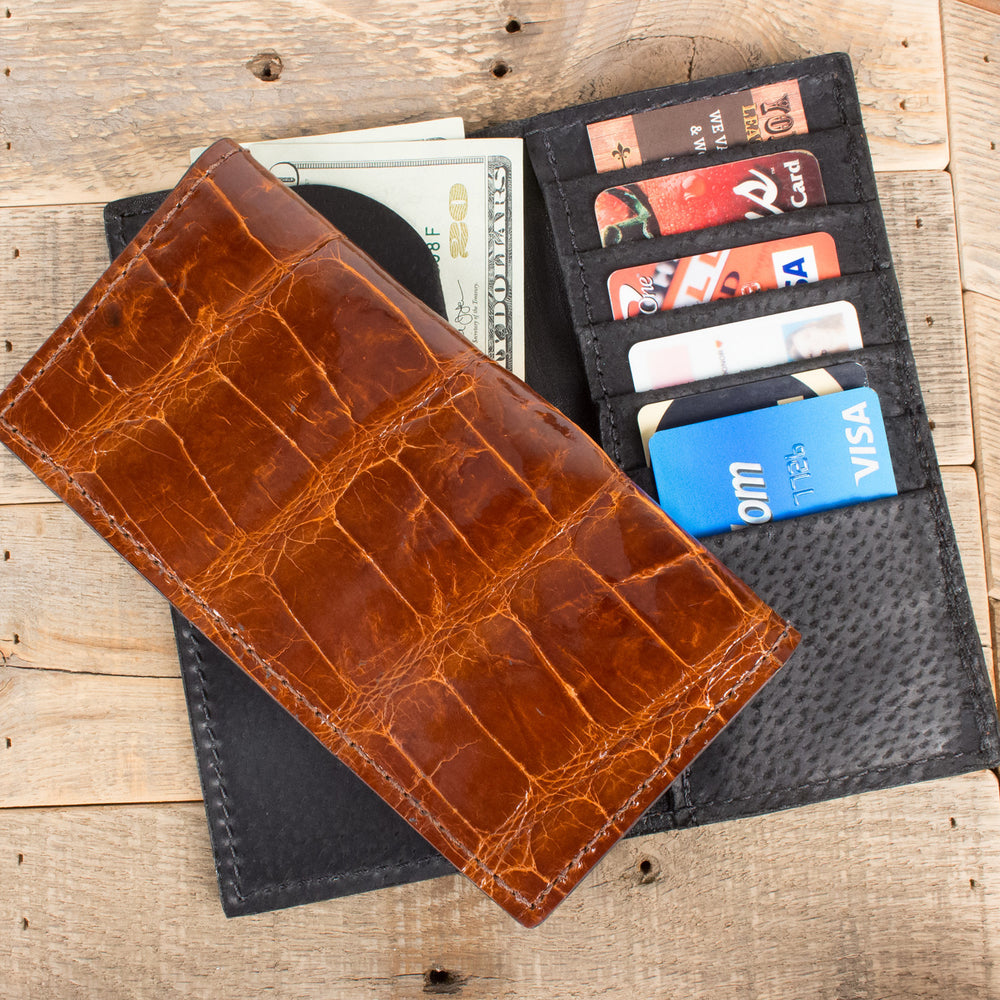 Cognac Alligator Checkbook Wallet