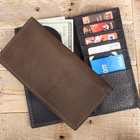Brown Kangaroo Checkbook Wallet