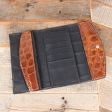 Cognac Brown Alligator Purse Open
