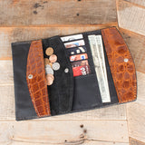 Cognac Brown Gator Leather Clutch