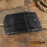 eel skin clutch wallet women's
