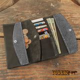 Gray Lizard Clutch Handbag Wallet