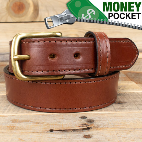 Stitched Brown Money Belt