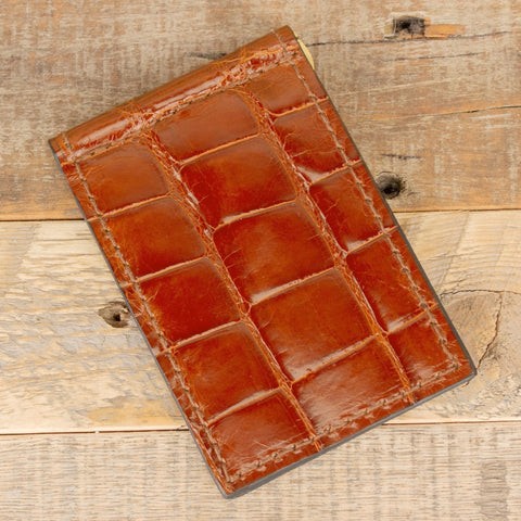 Cognac Alligator Thin Wallet