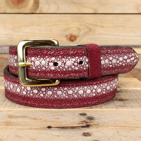 Red Spotted Eagle Leather Belt