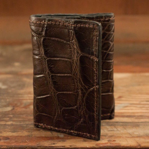 Brown Alligator Trifold Wallet Amish Hand Made Yoder