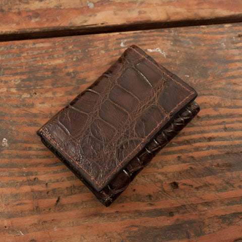 Brown Alligator Trifold Leather Wallet