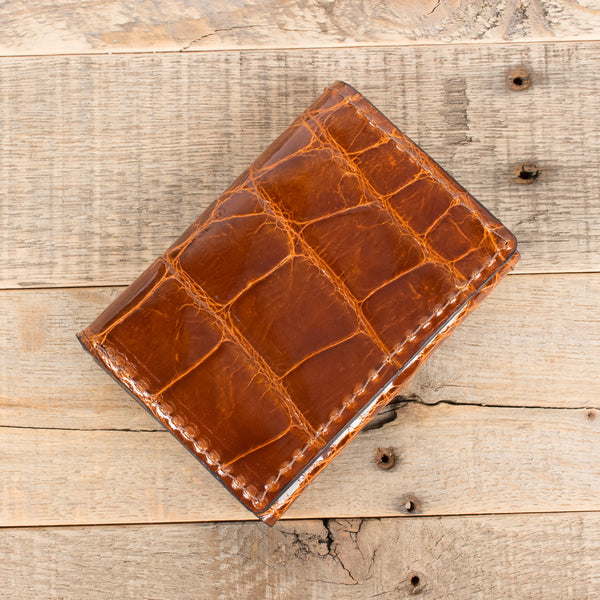 Cognac Alligator Trifold Wallet Amish Hand Made Yoder