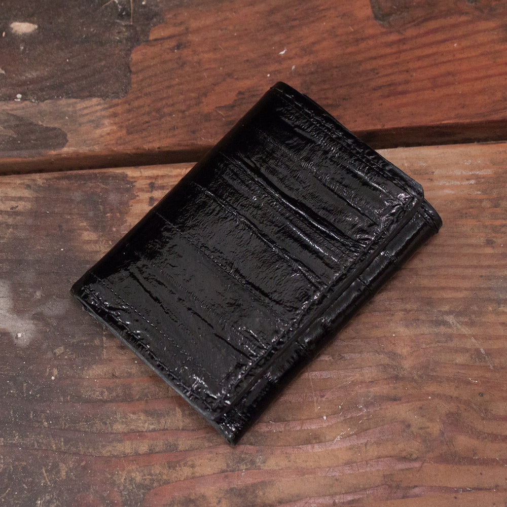 Black Eel Skin Trifold Leather Wallet