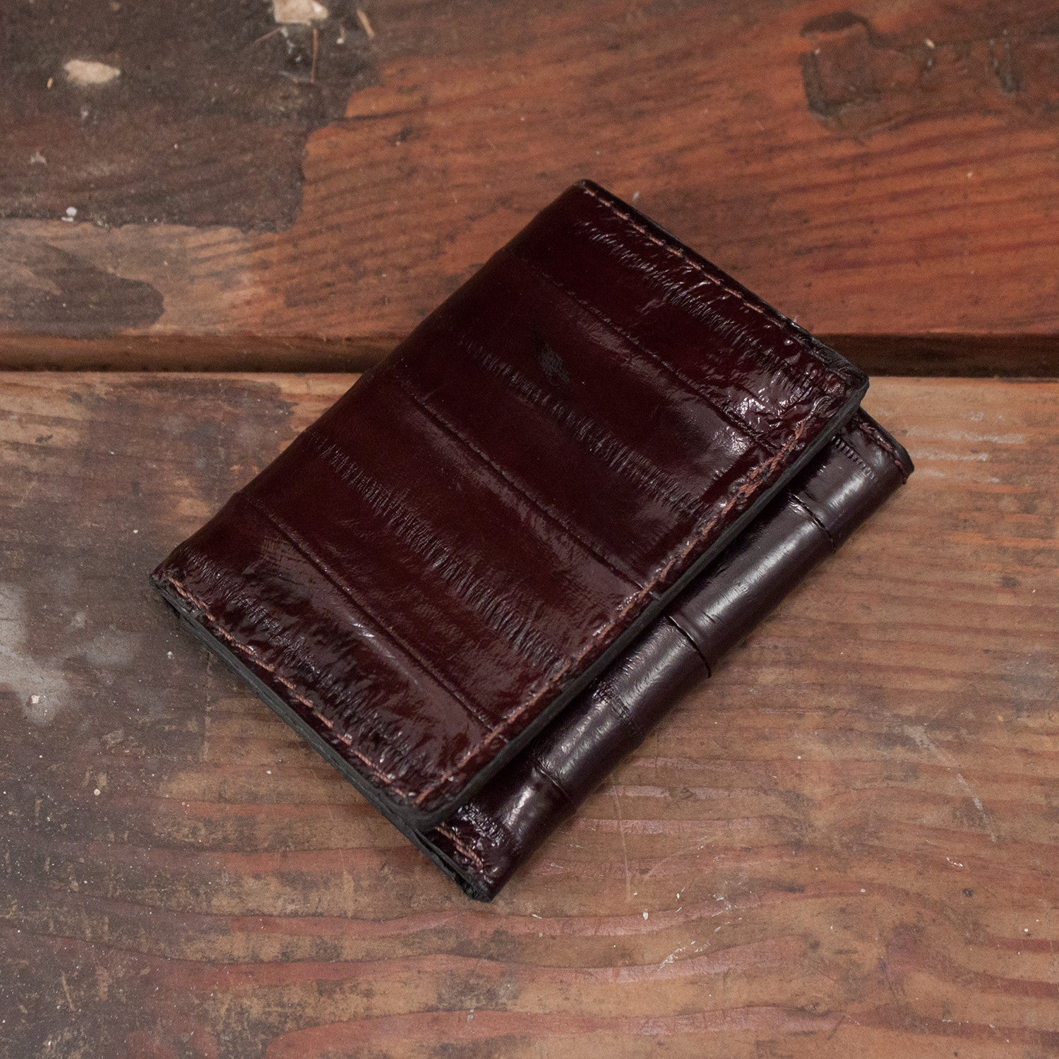 Brown Eel Trifold Leather Wallet