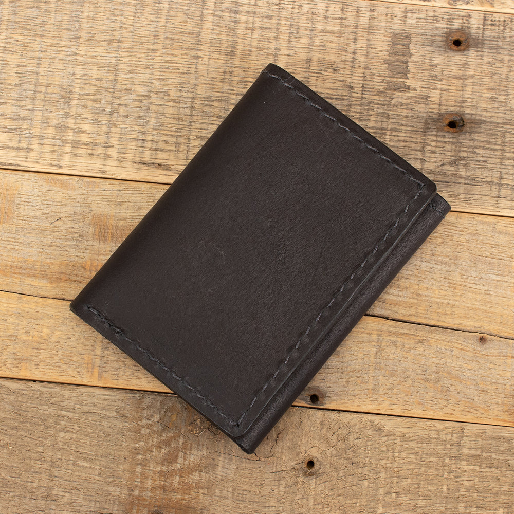 Black Kangaroo Trifold Leather Wallet