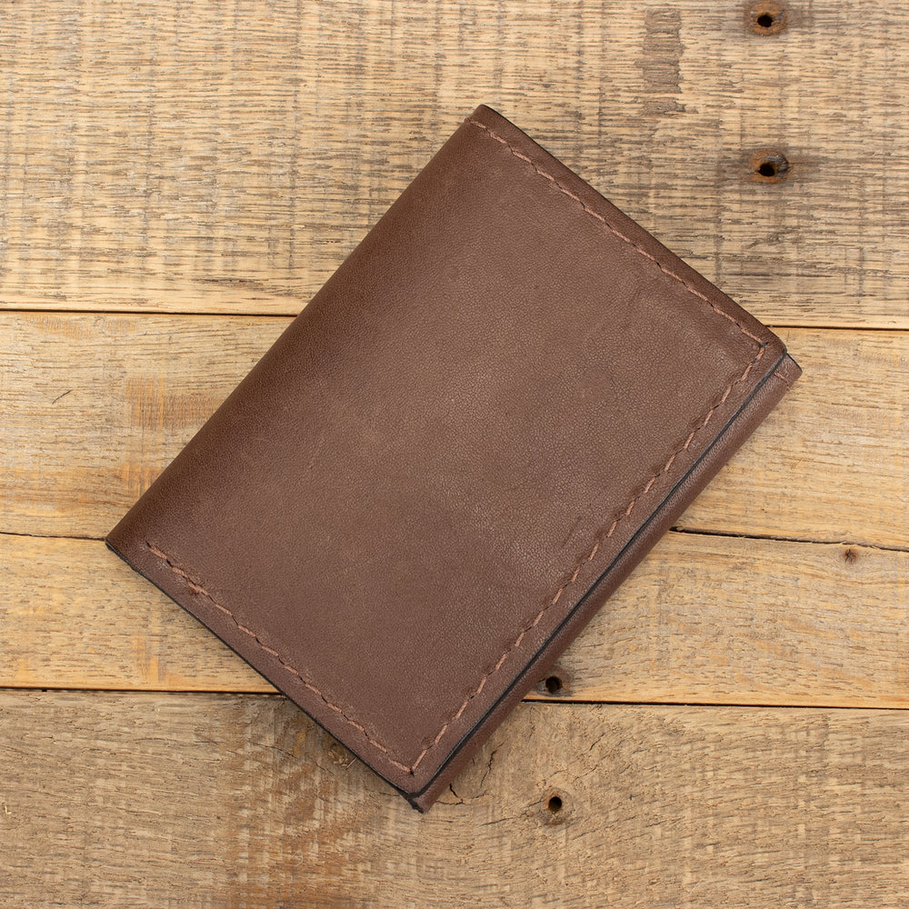 Brown Kangaroo Trifold Leather Wallet