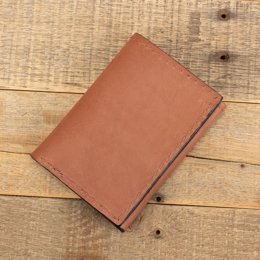 Tan Kangaroo Trifold Leather Wallet