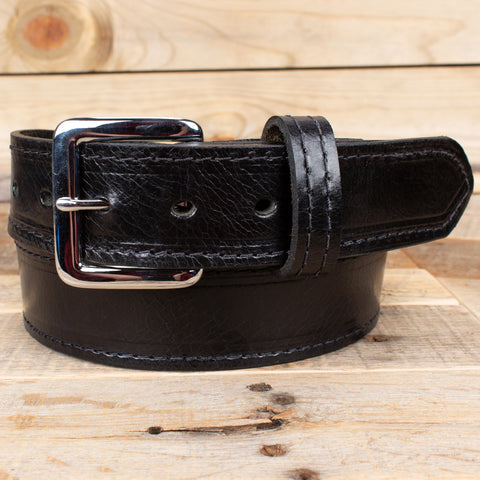 Genuine Water Buffalo Dress Belt Black