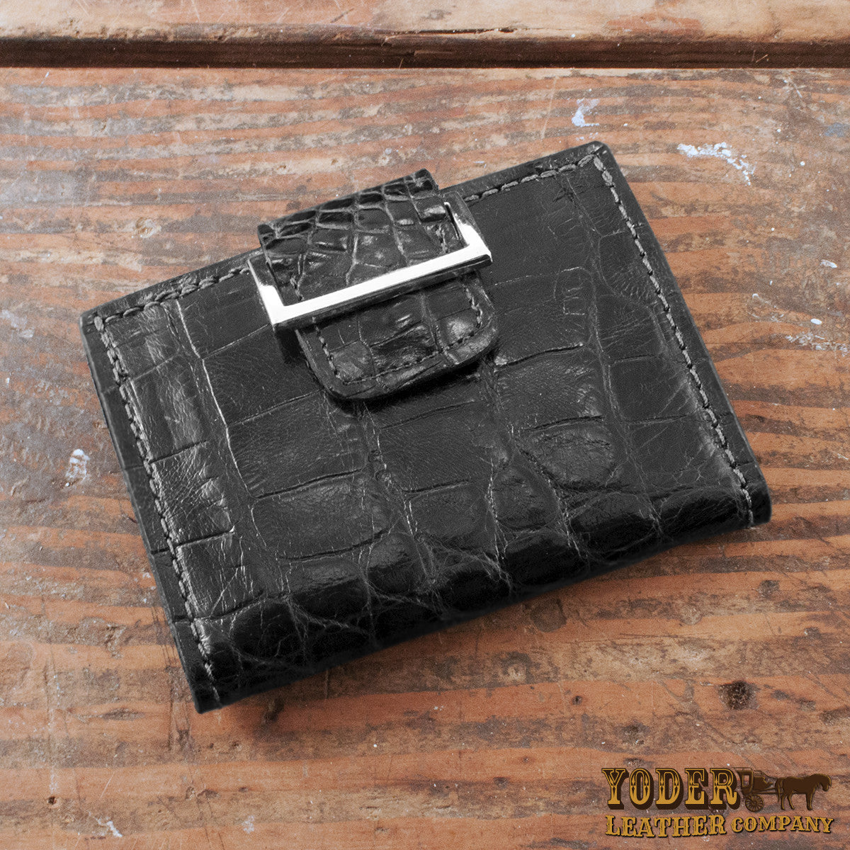 Women S Black Alligator Skin Wallet Yoder Leather Company