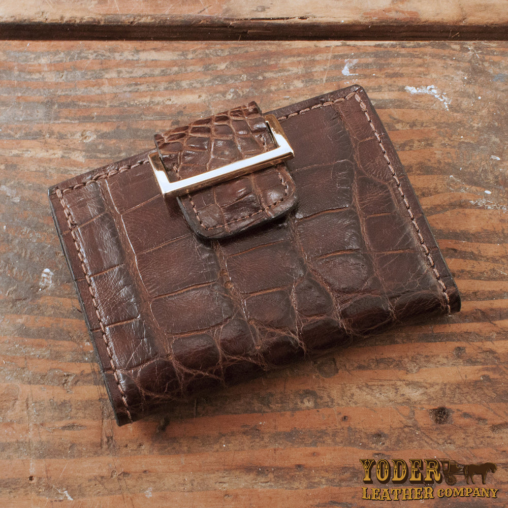 Women's Brown Alligator Skin Wallet Clutch