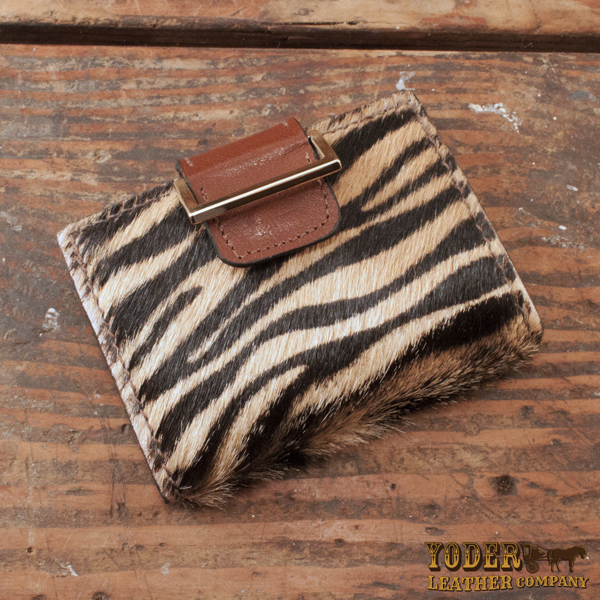 Furry Tiger Print Leather Wallet