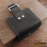 Women's Black Leather Lizard Wallet