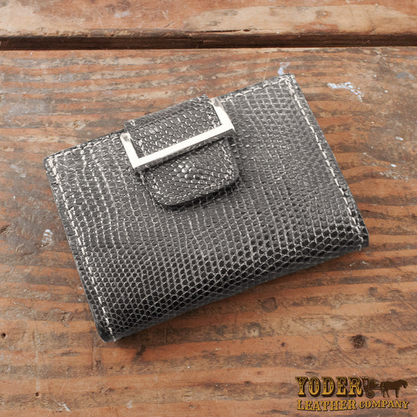 Gray Women's Wallet Lizard Skin
