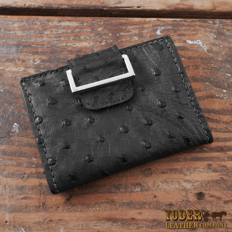 Women's Wallet Black Ostrich Skin