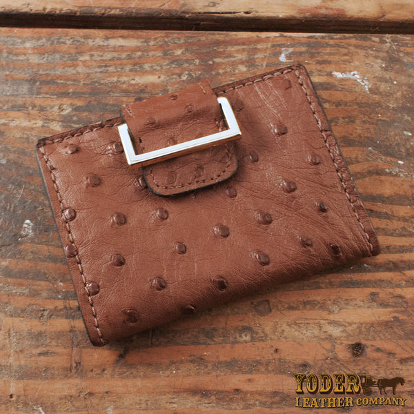 Brown Ostrich Skin Women's Wallet