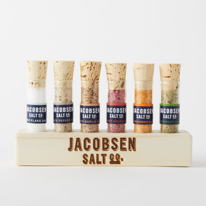 Six Vial Infused Salt Set with Branded Wood Stand