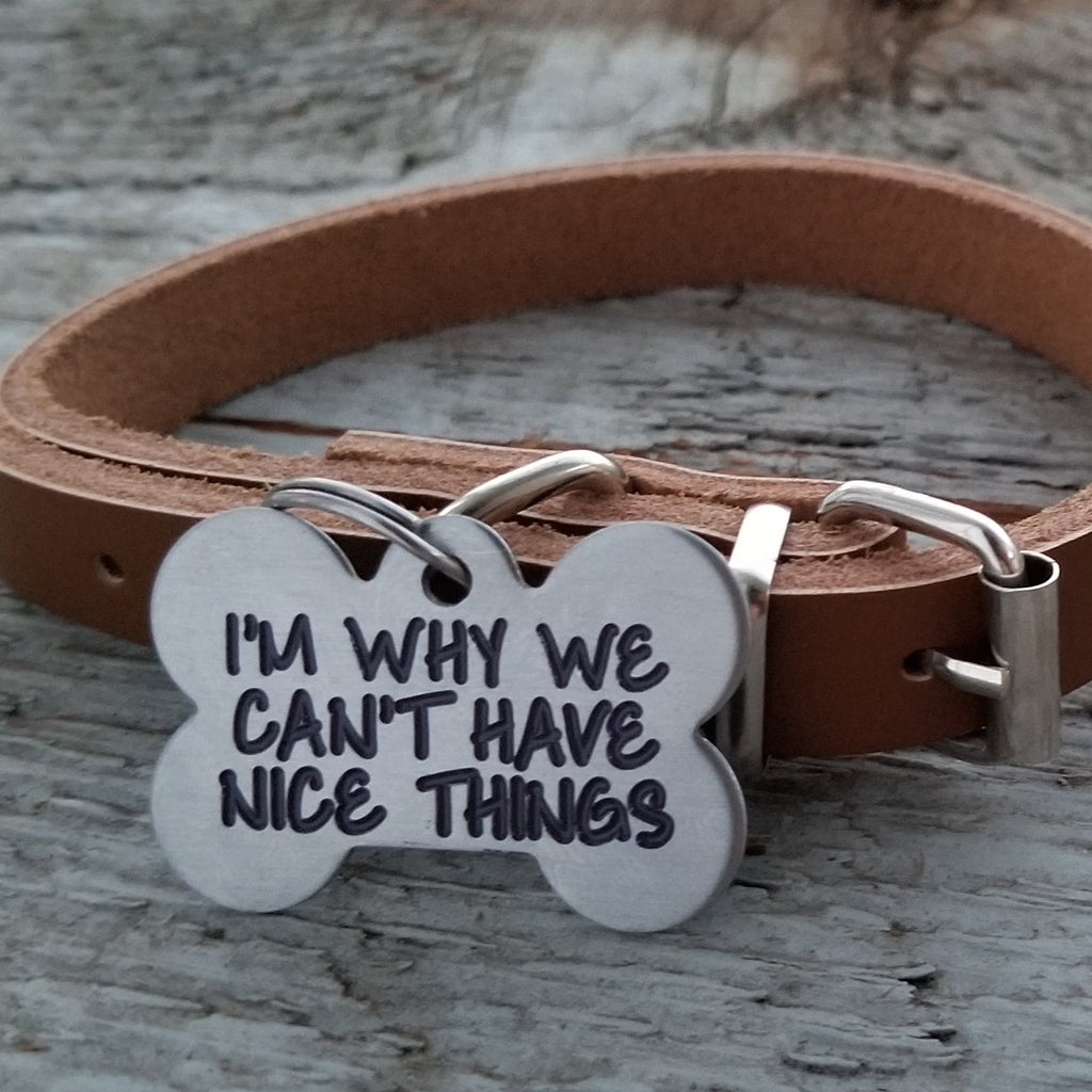 I'M WHY WE CAN'T HAVE NICE THINGS - Deep Engraved - Stainless Steel Bone