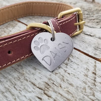 LARGE Stainless Steel Heart with PAW - Deep Engraved