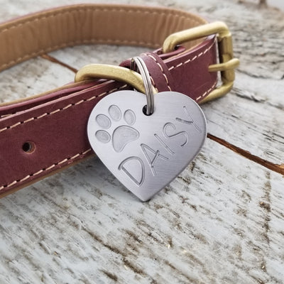 HEART with PAW - Deep Engraved Stainless Steel
