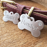 LARGE Stainless Steel Bone with PAWS - Deep Engraved