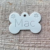 X LARGE Stainless Steel Bone with PAWS - Deep Engraved