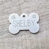 SMALL Stainless Steel Bone with PAWS - Deep Engraved