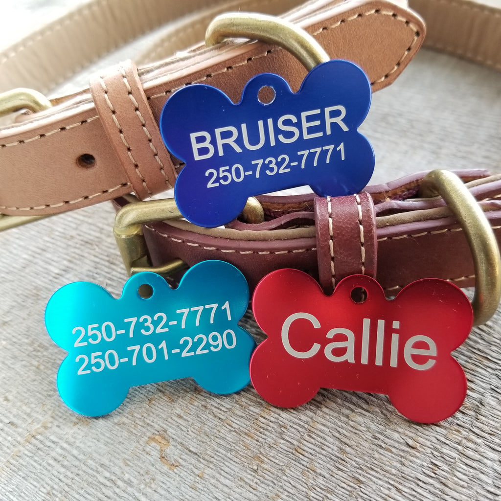 *SALE!/3 Tags for $12-/LARGE Aluminum Bone / LASER Engraved