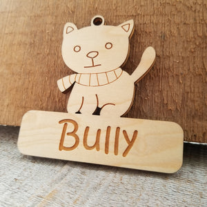 *3 for $18-/Wood Kitty Ornament