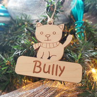 Wood Kitty Ornament/*1 for $10/2 for $16/3 for $20-