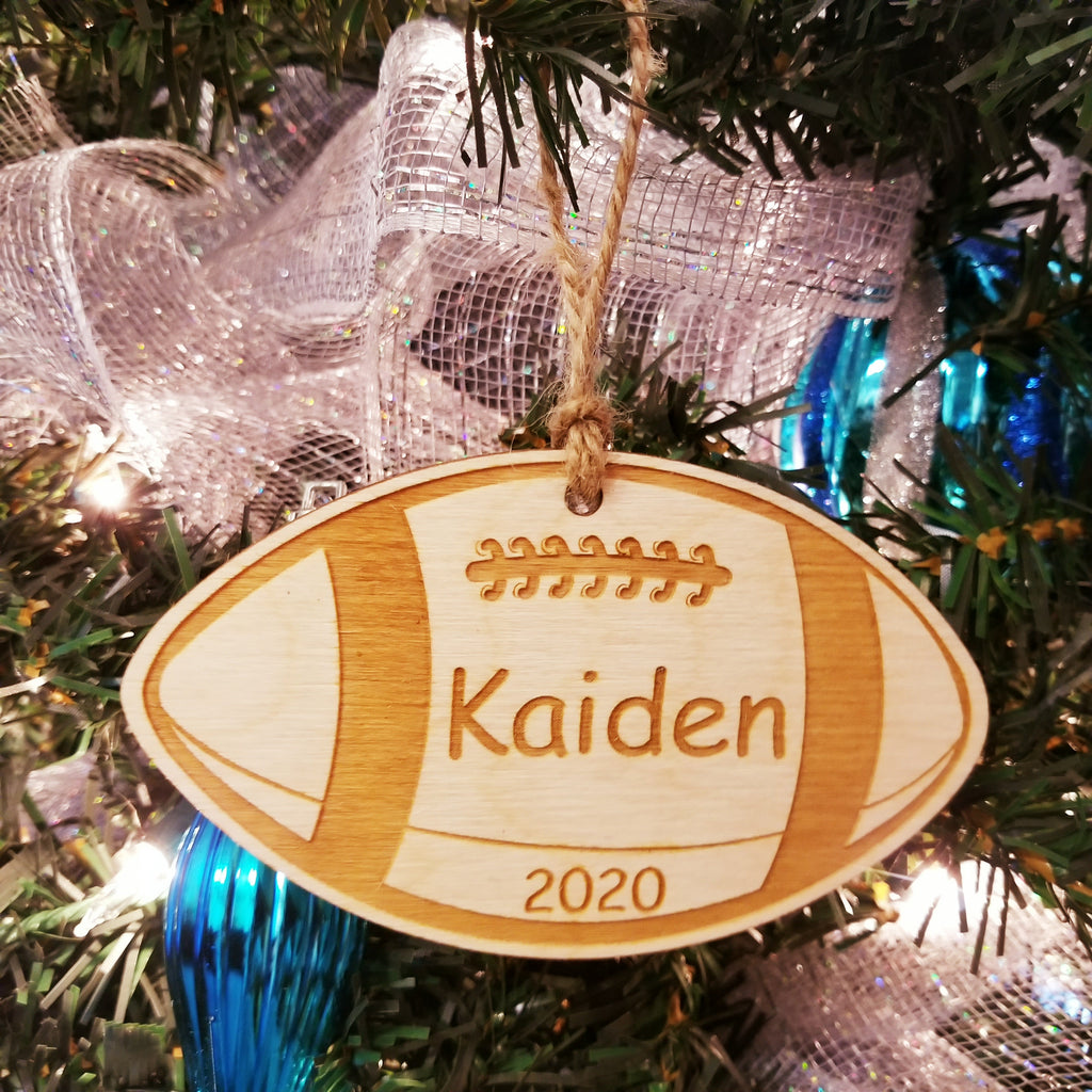 Wood Football Ornament/*1 for $10/2 for $16/3 for $20-