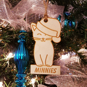 Wood Kitty Santa Ornament/*1 for $10/2 for $16/3 for $20-