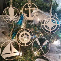 Wood Nautical 6 Ornament Bundle
