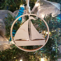 Wood Sailboat Ornament/*1 for $10/2 for $16/3 for $20-