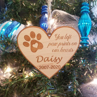 Paw prints on our hearts Ornament/*1 for $11/2 for $17/3 for $22-