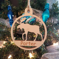 Wood Moose Ornament/*1 for $10/2 for $16/3 for $20-